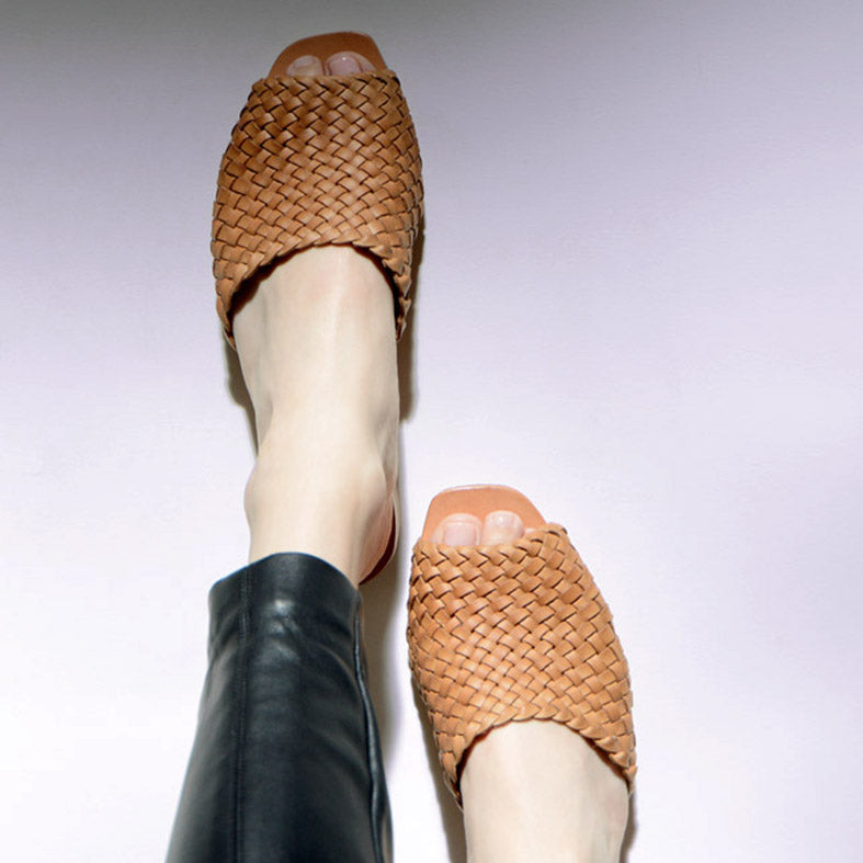 Either Or Handmade Leather Sandals Women's Woven Slide Miel Brown