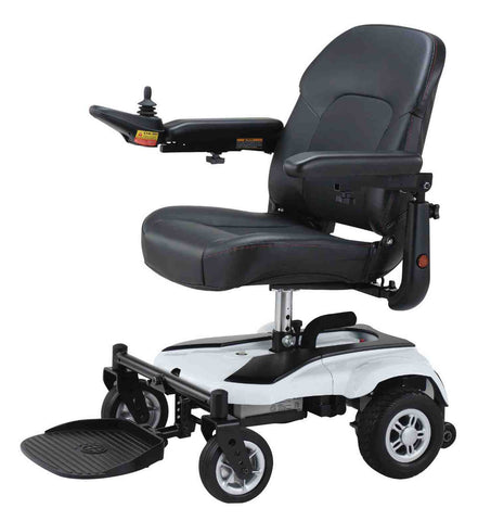 Merits Ezy Go XL - Portable powerchair comfortable seating for prolongued use - Mobility Joy Central Coast - white
