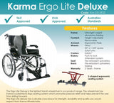 Karma Ergo Lite Deluxe Self Propelled Folding Wheelchair Central Coast Mobility Joy