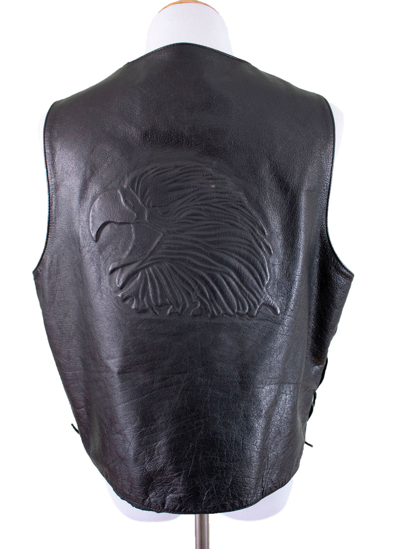 "Wilsons Leather ""Freebird"" Eagle Embossed Leather Vest Full back - Rizzo's"