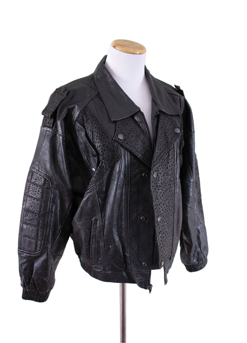 """Gonzo"" Leather Bomber Jacket Front right - Rizzo's"