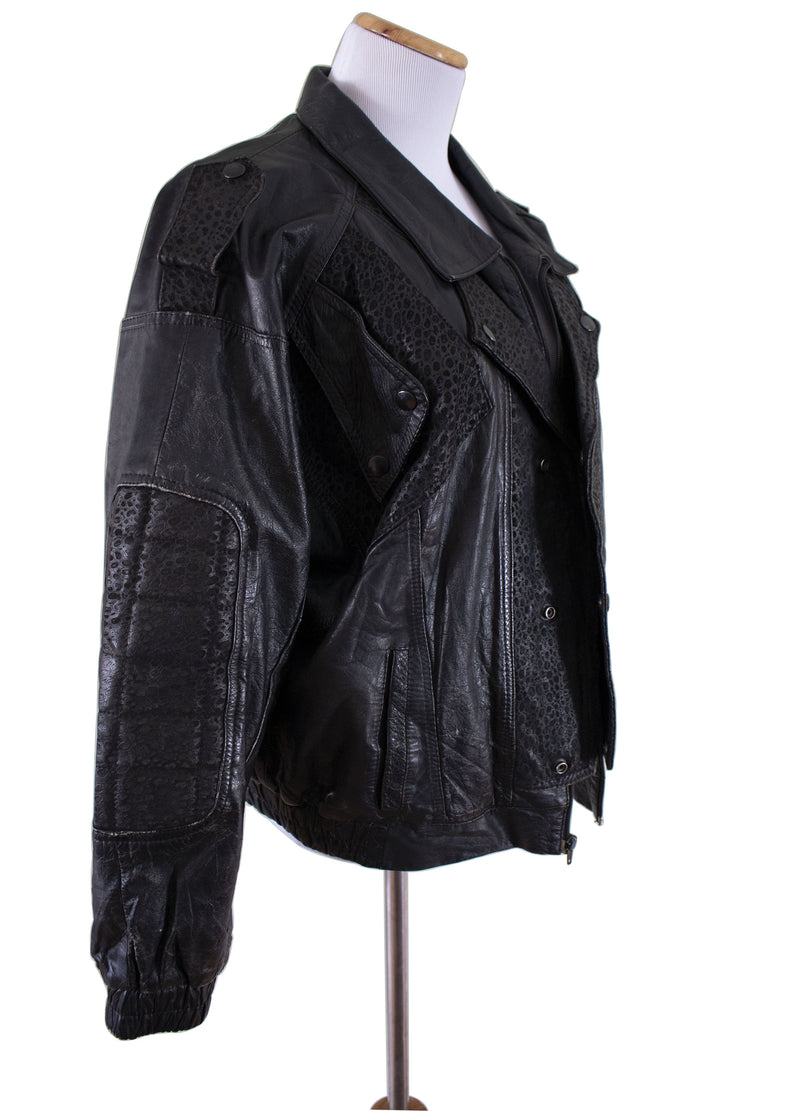 """Gonzo"" Leather Bomber Jacket Right pose- Rizzo's"