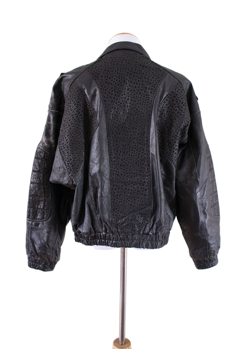 """Gonzo"" Leather Bomber Jacket Back- Rizzo's"