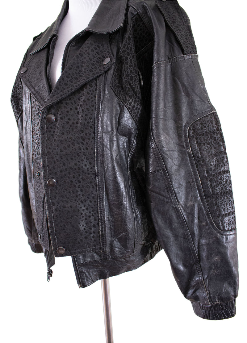 """Gonzo"" Leather Bomber Jacket Left Pose - Rizzo's"