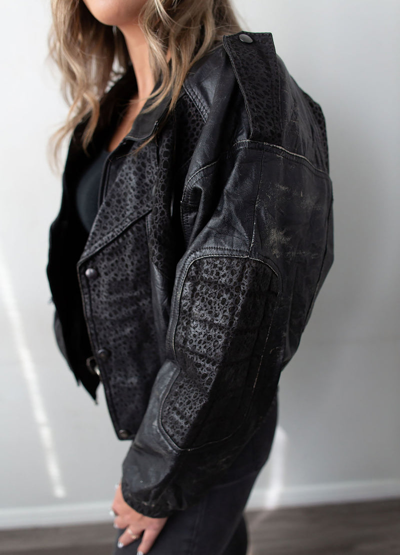 """Gonzo"" Leather Bomber Jacket Rocker - Rizzo's"