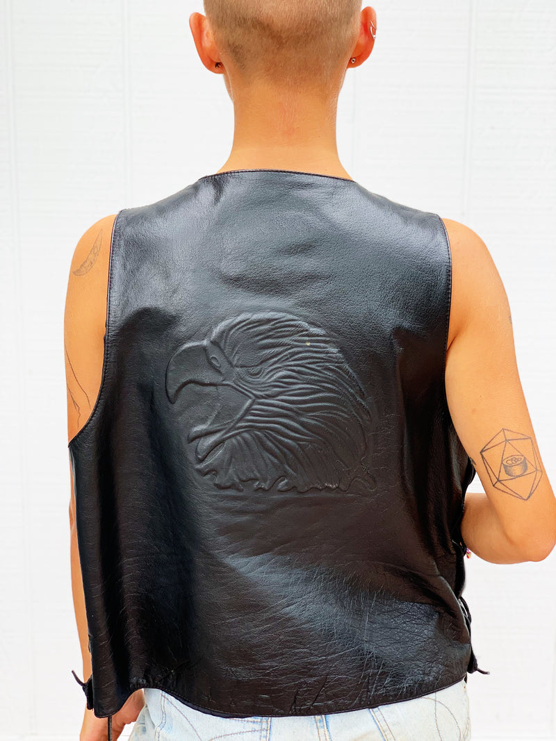 "Wilsons Leather ""Freebird"" Eagle Embossed Leather Vest Branded  - Rizzo's"