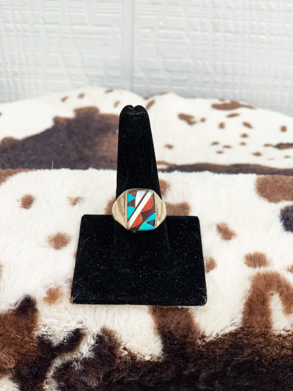 """Buck Em"" Vintage Sterling Silver, Coral, Mother of Pearl, and Turquoise Ring"