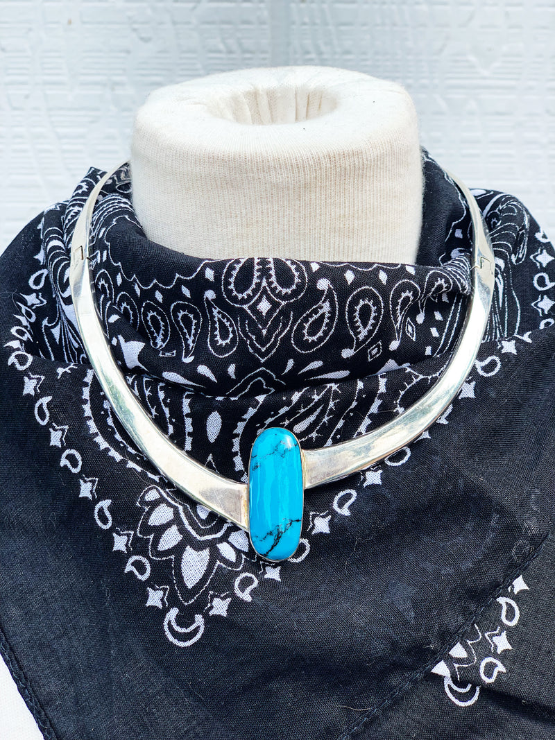 """Bang Bang"" Sterling Silver and Turquoise Necklace"