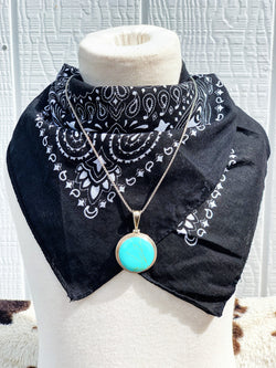 """Its Worth"" Vintage Sterling Silver and Turquoise Pendant and Necklace Chain"