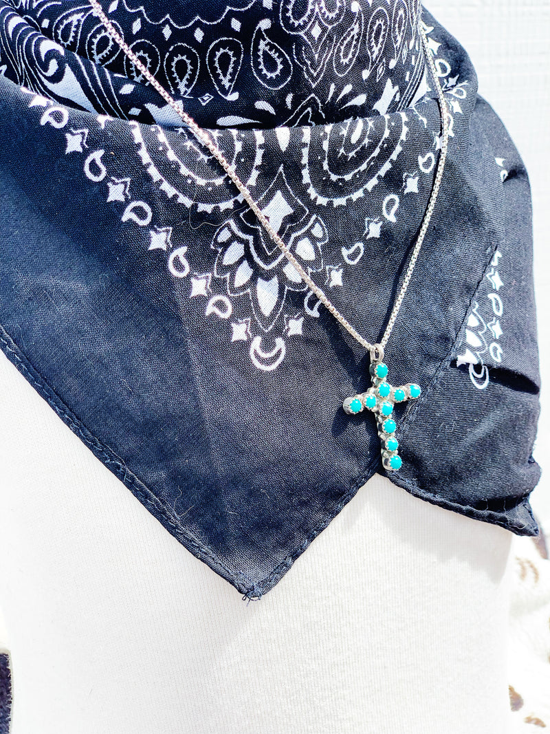"""Up Above"" Sterling Silver and Turquoise Cross Pendant"