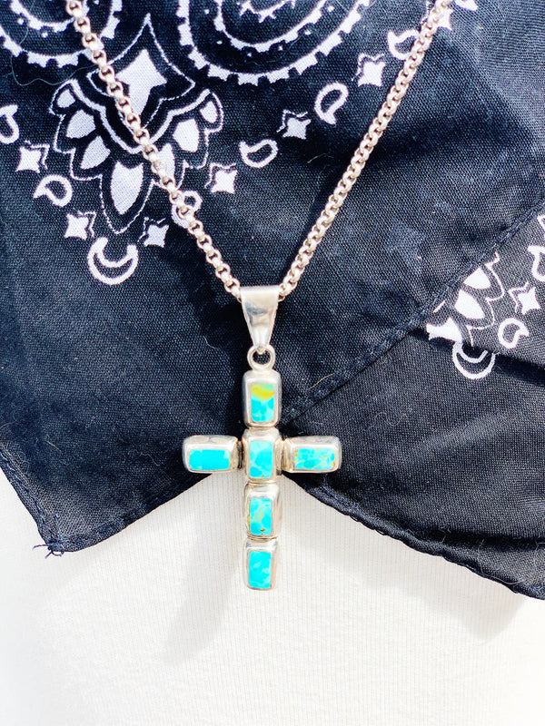 """Heavens Sake"" Sterling Silver and Turquoise Cross Pendant"