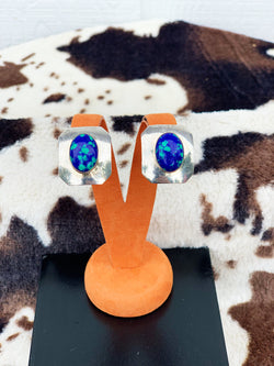 """Polka Dottie"" Vintage Sterling Silver and Azurite Clip-On Earrings"
