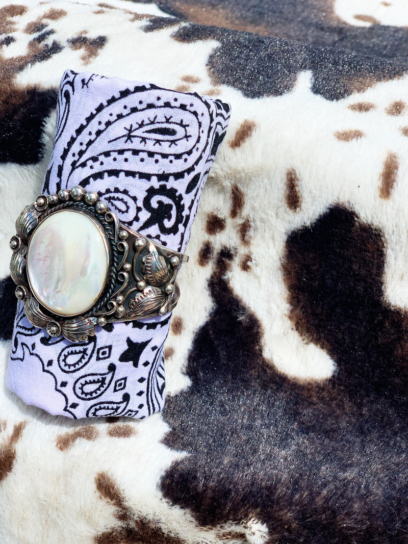 """All of You"" Vintage Sterling Silver and Mother of Pearl Bracelet Cuff"