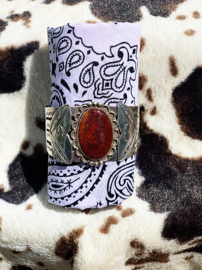 """Reflector"" Sterling Silver and Red Jasper Bracelet Cuff"