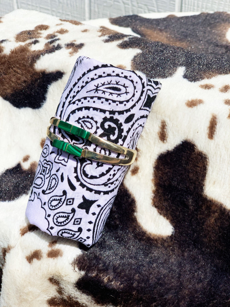 """Maze"" Sterling Silver and Malachite Bangle Bracelet"