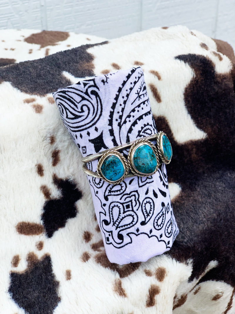 """After All"" Sterling Silver and Turquoise Bracelet Cuff"