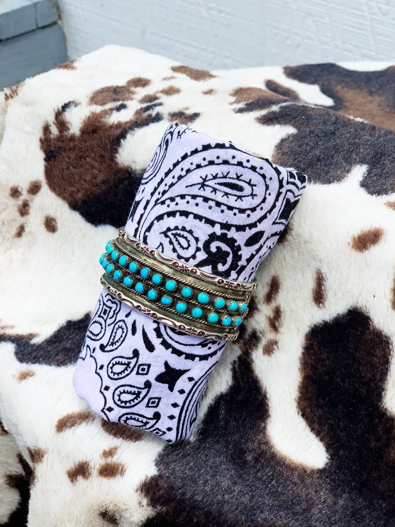 "Lay of the Land"" Sterling Silver and Turquoise Bracelet Cuff"