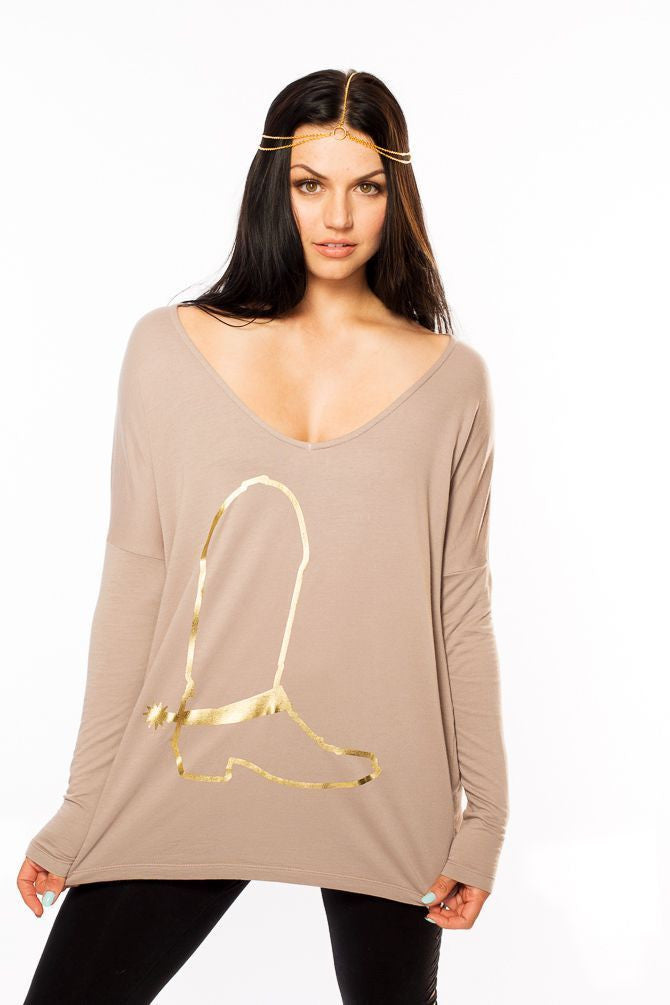 Gold Boot V-Neck Sweater