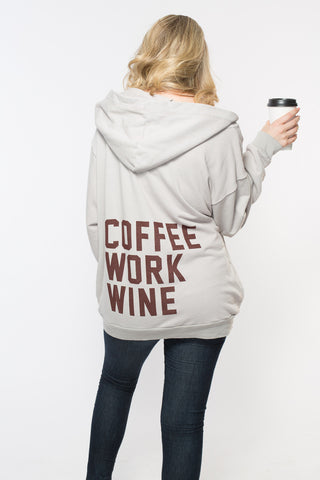 Coffee Work Wine Oversized Zip Up Hooodie