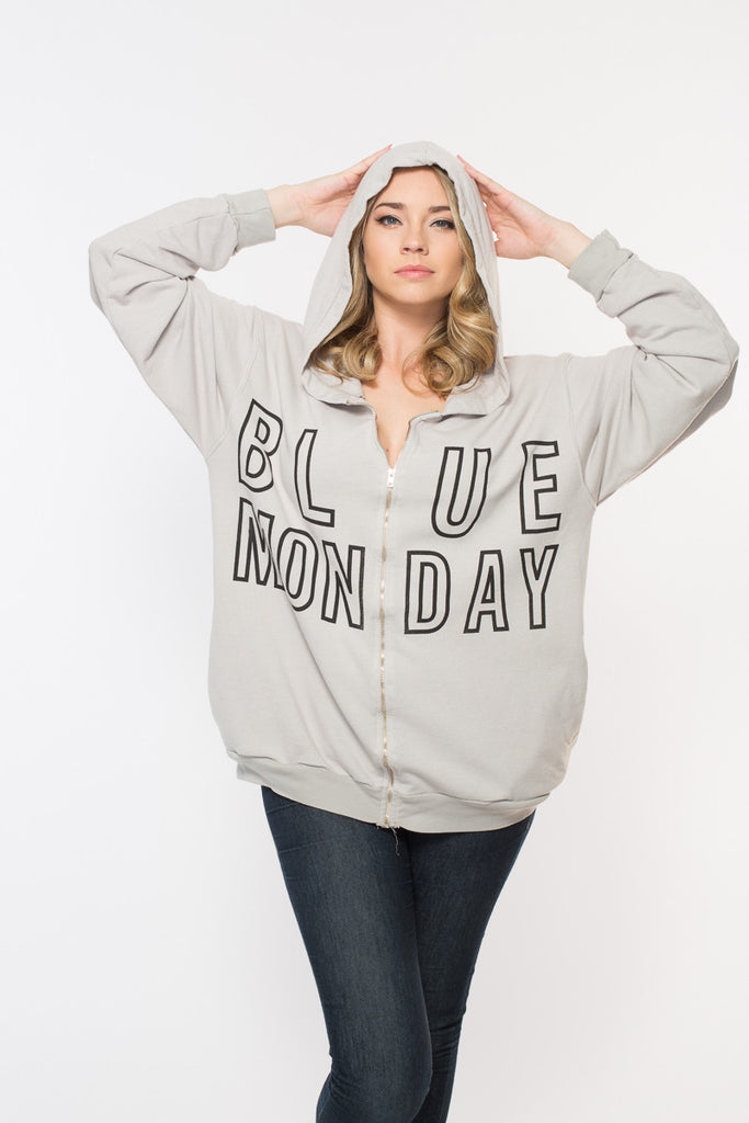 Blue Monday Oversized Zip Up Hoodie