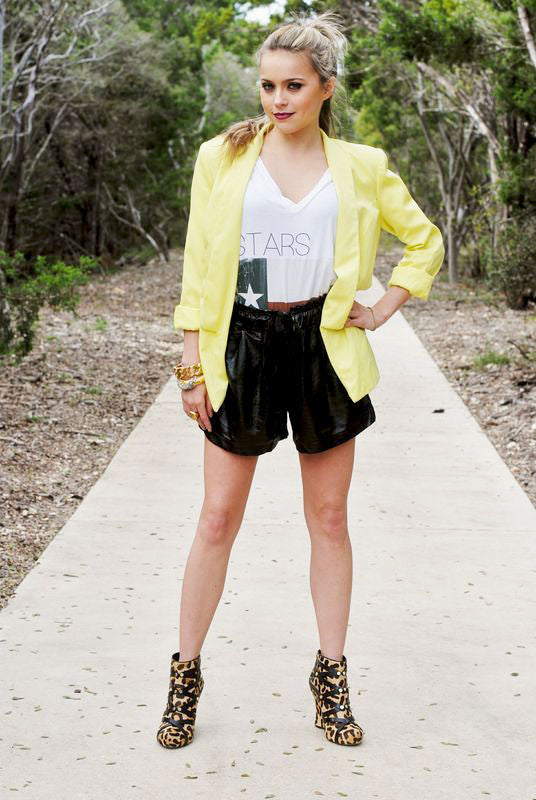 Faux Leather Snake Shorts
