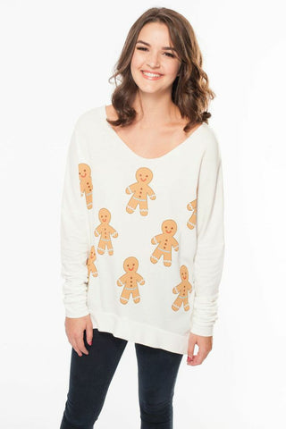 Gingerbread Men Raw Edge Sweater