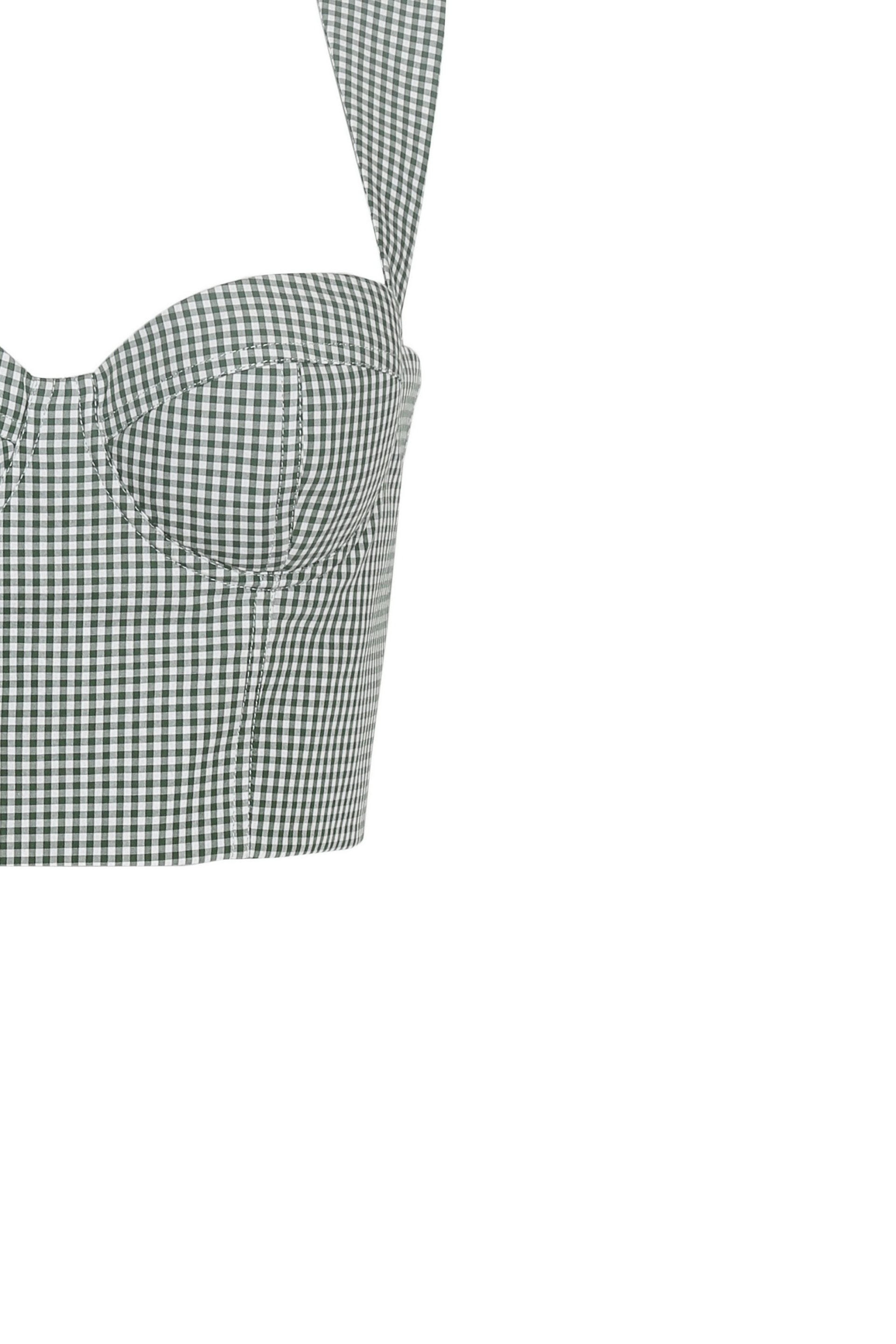Checked Bustier Crop Top