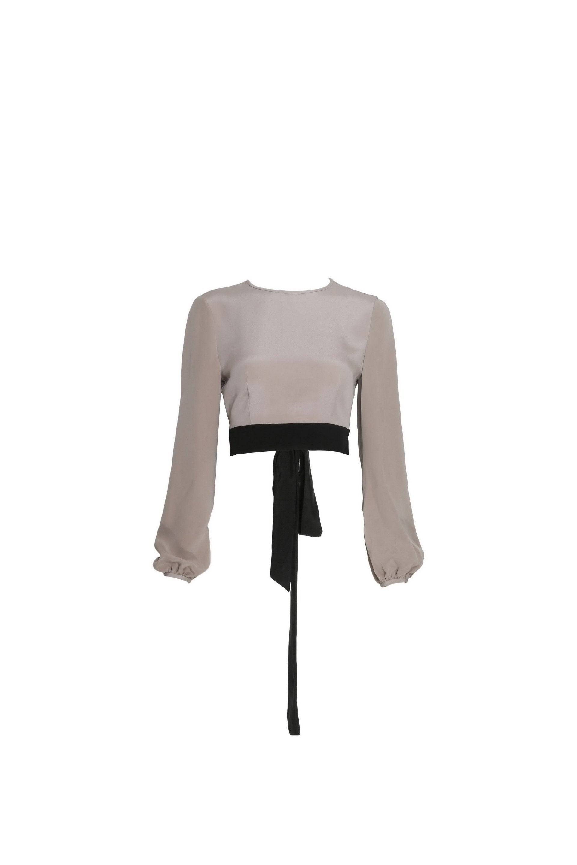 Silk Tied Crop Blouse
