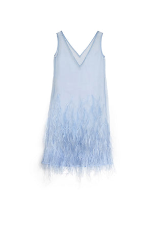 Silk Ostrich Feathered Dress