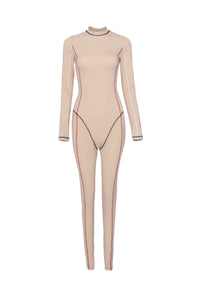 Stand-up collar long sleeved bodysuit