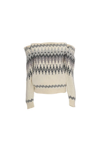 Off-the-shoulder cable- knit sweater