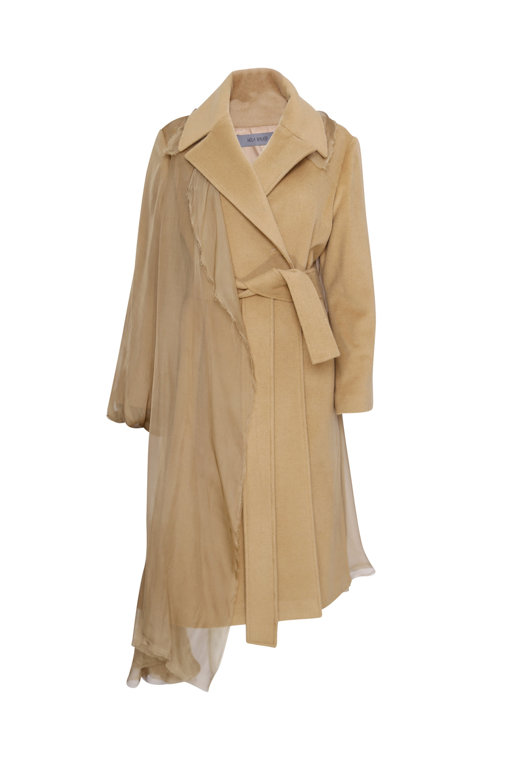 belted coat with silk detail