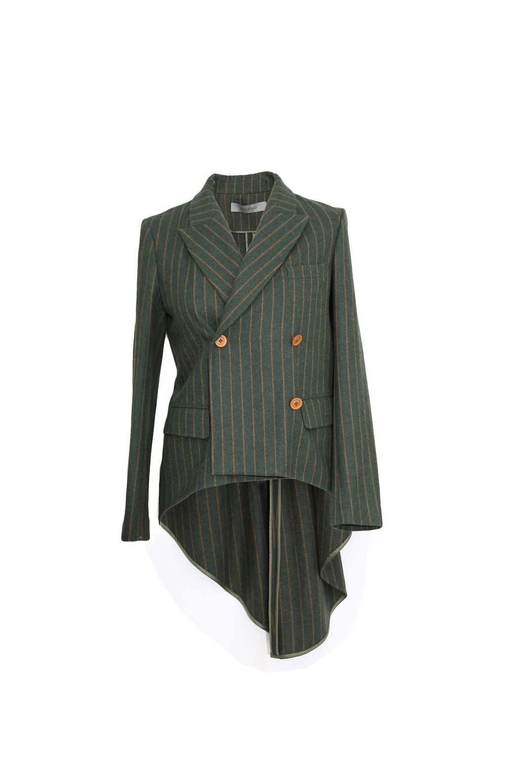 Asymmetric striped  wool coat