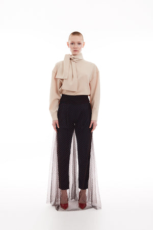 Layered flocked tulle and crepe pants