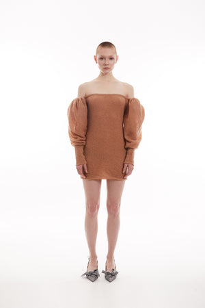 Off-the-shoulder mohair-blend dress