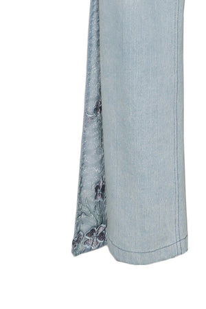 High Waist Denim Bell Bottom Trousers