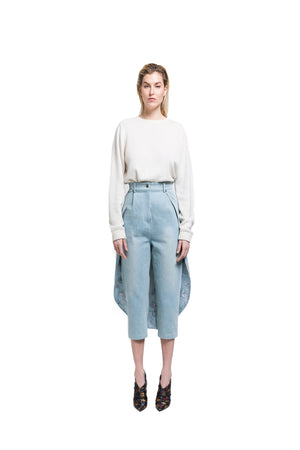 High Waist Denim Trouser W/ Cape
