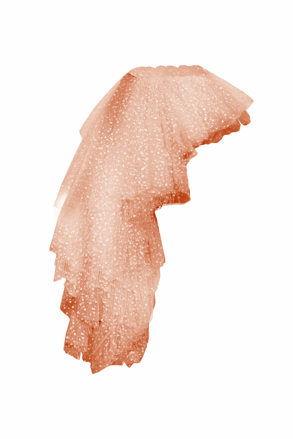 Asymmetric flocked-tulle top