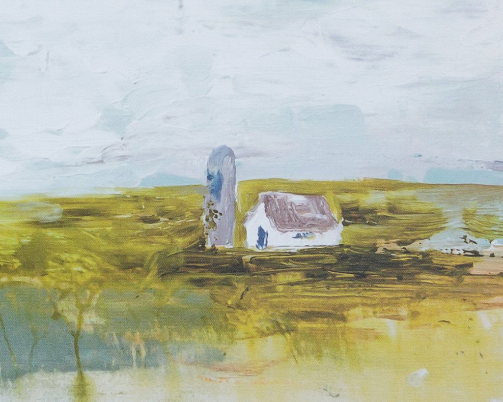 Little White Barn, Abstract Canvas