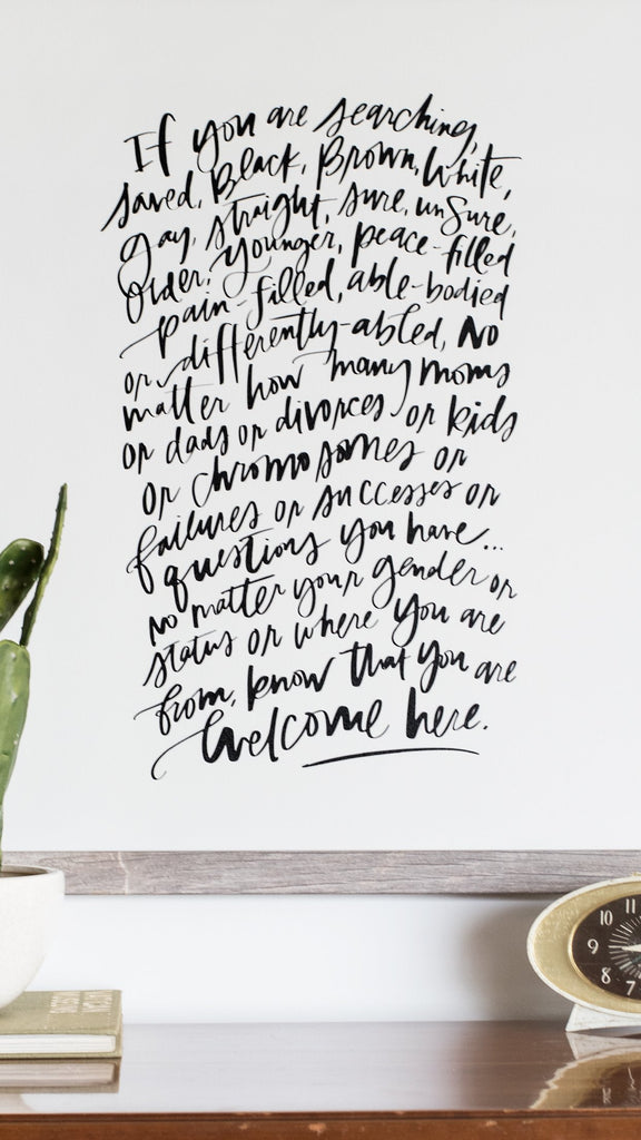 Welcome Here Manifesto, Boutique Canvas