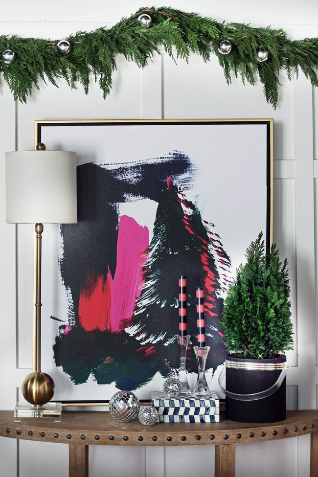 Black Tree With Pink Abstract Canvas