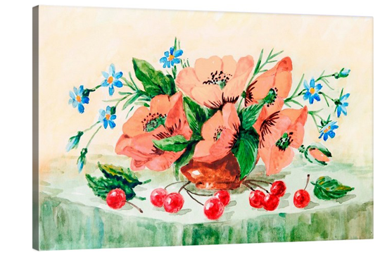 Poppies + Cherries Watercolor