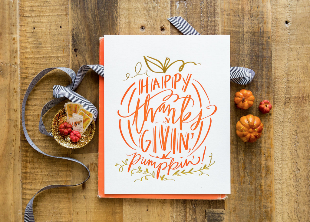 No. 129, Happy Thanksgivin' Pumpkin' Print
