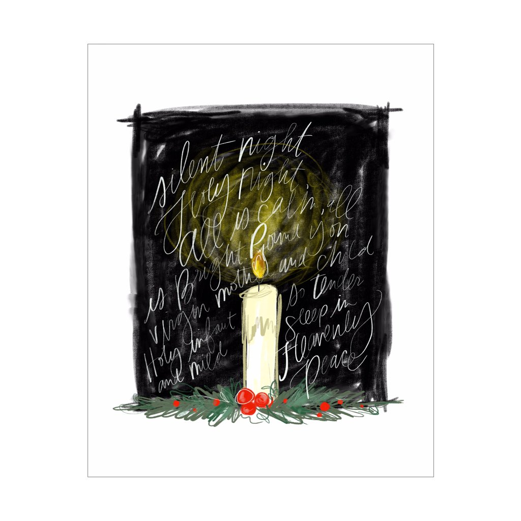 Silent Night Candle, Gift Canvas