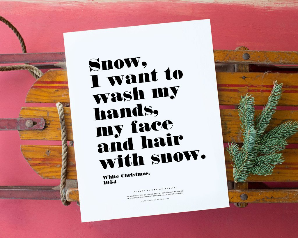 No. 166, Snow Print / Typography (11x14)