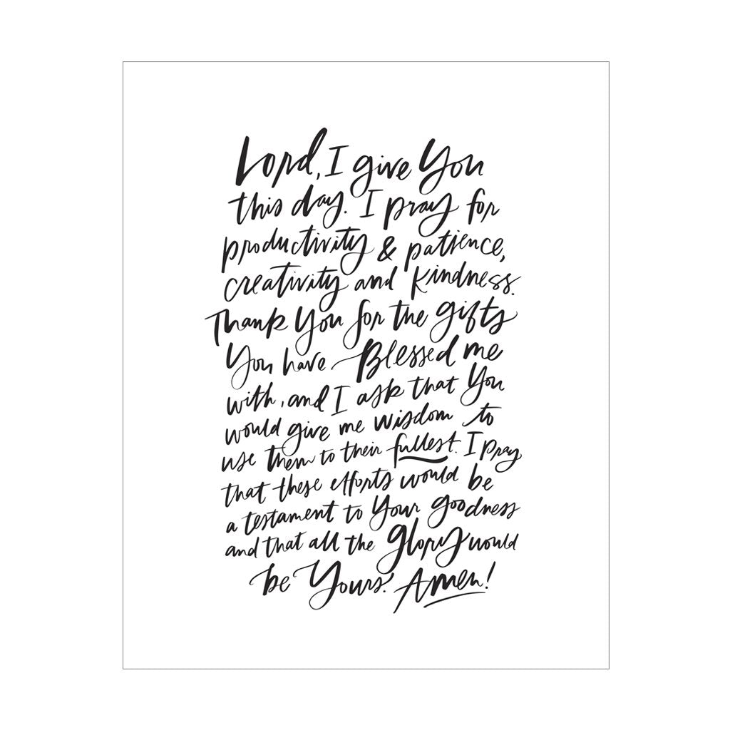 Productivity Prayer, Gift Canvas