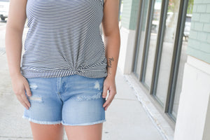 Distressed Light Wash Denim Shorts