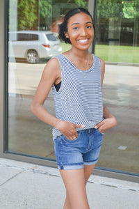 High Waisted Dark Wash Denim Shorts