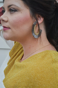 Gray Fan Earrings