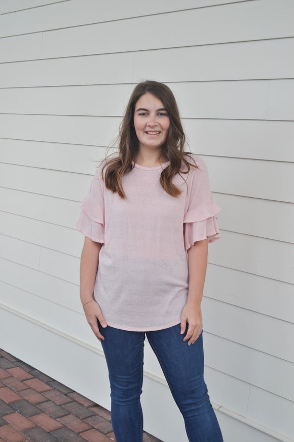 Pink Knit Ruffle Top